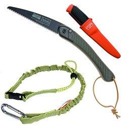 New Bahco 396-Lap 9 Inch Laplander Folding Saw & 2444 Carpenter Mora Multi Purpose Knife & Bungee Tool Lanyard