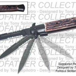 """9"""" Black Blade Godfather Red Bone Handle Assisted Opening Pocket Knife"""