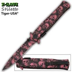 "Z Slayer ""Walker"" Ao Knife - Pink Purple Skull- A Must Have For Diva Zombie Hunters"