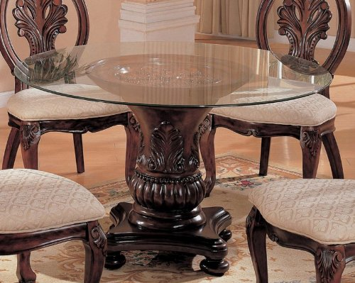 Image of Dining Table with Round Glass Top in Cherry - Coaster (VF_AZ00-45620x29135)