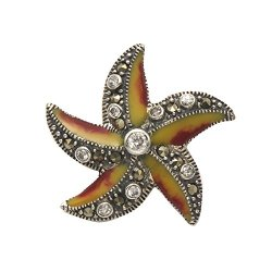 Sterling Silver, Gold & Red Enamel Starfish Pin W/Marcasite & Crystal Stones