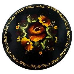 Hand Painted Folk Design Flower Paper Mache Brooch