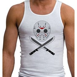 Scary Mask With Machete - Halloween Mens Ribbed Tank Top - White - 2Xl