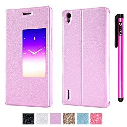 Cocoz® Huawei Ascend P7 Case Magnetic Closure Pu Fashion Smart Wake Up Mode Premium Daytona Skin Stand Classic Multifunction Folio Case With For Huawei Ascend P7 (Pink)