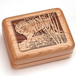 "3X4"" Box With Money Clip/Pocket Knife - Tiger"