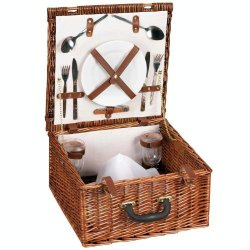 Household Essentials Woven Willow Square Shaped 2 Person Picnic Basket Set
