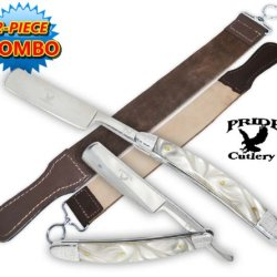 Stock P-20702-Ls2. Pride Cutlery Straight Razor & Leather Strop (2-Piece Set) Folding Knife Blade Dagger Weapon Sharp Edge Camping Hunting Koshka