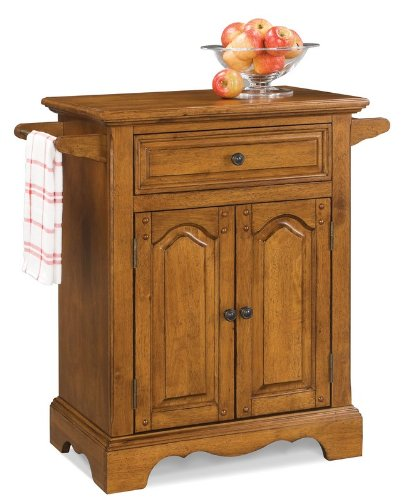 Image of Kitchen Cart with Hidden Casters in Oak Finish (VF_HY-5538-951)