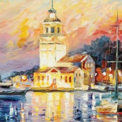 Modern Art Canva The Old City And Old Boat Painting Knife Paintng Wall Art Canvas Unframed Painting 50X35In/125X87.5Cm