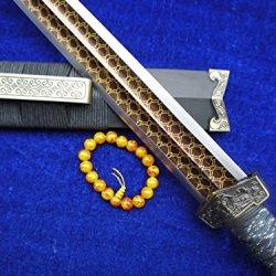 "Han Dynasty Knife Sword/Pattern Steel Carving Bit Black Sandal Wood Scabbard/35"""