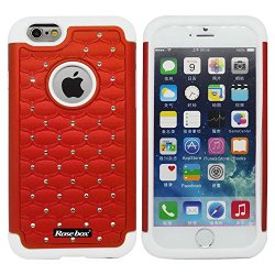 Rosebox® Iphone 6 Case Apple Iphone 6 Case (4.7 Inch) Leather Case Elegant Design Bling Starry Sky Crystal Diamond Case High Quality Pc + Silicone Hybrid Bumper Case Cover For Apple Iphone 6 Case (4.7 Inch) And Stylus (Red &White)