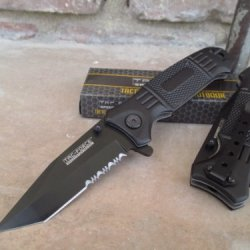 Tac-Force Assisted Opening Linerlock Serrated Black A/O Speed Rescue Knife