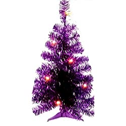 Merry Christmas 2 Ft Lighted Tinsel Tree Included Plastic Stand (Indoor Use Only) 14 Inch Diameter At Base
