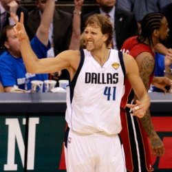 Miami Heat V Dallas Mavericks - Game Three, Dallas, Tx -June 5: Dirk Nowitzki Photographic Poster Print By Tom Pennington, 9X12