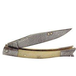 Biscuit Boy Pocket Knife Damascus Steel Blade Bone Handle