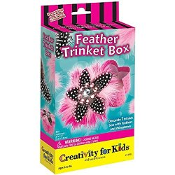 Pink & Black Feather Trinket Box Activity Kit Includes Rhinestones Feathers Glue Box