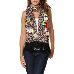 Ed Hardy Womens Heart/Dagger Knit Scarf - Taupe/Aztec