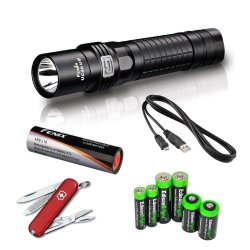 Fenix Uc40 (Uc40Ue) Ultimate Edition Usb Rechargeable 960 Lumen Cree Xm-L2 U2 Multi Battery Type Compatible Led Flashlight With, 3400Mah Rechargeable Battery, Usb Charging Cable, Victorinox Swiss Army Classic Sd Knife/Multi-Tool And Edisonbright Battery S