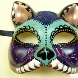 Purple Skyblue Cat Figure Half Face Hand-Painted Paper Mache Mask
