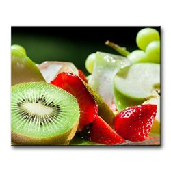 Red Wall Art Painting Halves Strawberry Kiwi Green Apple And Sweet Grapes Pictures Prints On Canvas Food The Picture Decor Oil For Home Modern Decoration Print