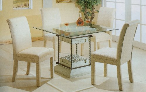 Image of 5pc Faux Stone Glass Top Dining Table & White Parson Chairs Set (VF_dinset-7065-4465)
