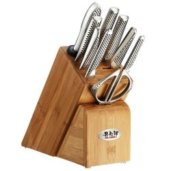 Global Japanese Knives Takashi 10 Pce Knife Set Block And Mino Ceramic Knife Sharpener