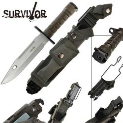 Survivor Special Ops Military Bayonet Survival Knife Silver