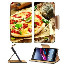 Pizza Dish Food Spices Tomatoes Cheese Dough Knife Fork Sony Xperia Z Ultra Flip Case Stand Magnetic Cover Open Ports Customized Made To Order Support Ready Premium Deluxe Pu Leather 7 1/4 Inch (185Mm) X 3 15/16 Inch (100Mm) X 9/16 Inch (14Mm) Liil Sony X