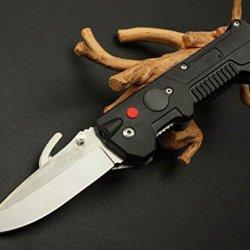Black Rescue Spring Assisted Glass Breaker Folding Pocket Knife 8.46''