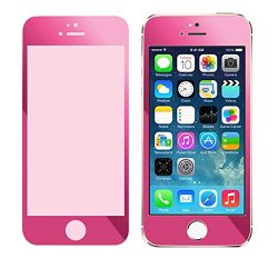 Doinshop Colorful Plating Tempered Glass Film Screen Protector For Iphone 5 5S (Hot Pink)