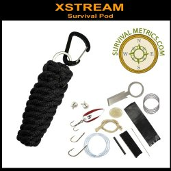 X*Stream Survival Pod - 550 Paracord & Survival Kit - Black