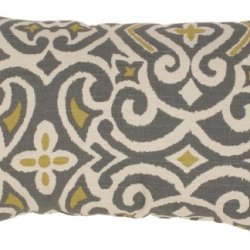 Pillow Perfect Gray/Greenish-Yellow Damask Rectangular Throw Pillow