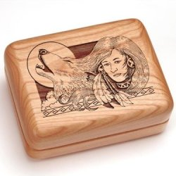 """3X4"""" Box With Money Clip/Pocket Knife - Wolf Maiden"""