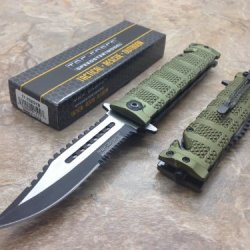 Tac Force Assisted Opening Rescue Tactical Pocket Folding Sawbaw Bowie Knife Outdoor Survival Camping Hunting W/ Glass Breaker - Green