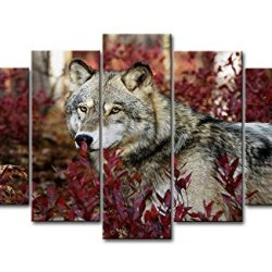 5 Panel Wall Art Painting Wolf In The Forest Pictures Prints On Canvas Animal The Picture Decor Oil For Home Modern Decoration Print