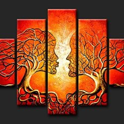 Sangu 100% Hand Painted Wood Framed 5-Piece Hot Sale Modern Love Couple Tree For Abstract Oil Painting Gift Canvas Wall Art For Home Decoration