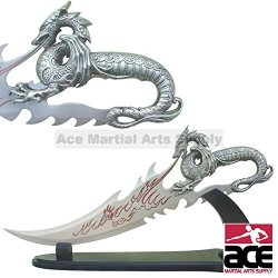 """21.5"""" Fire Dragon Dagger With Display Stand"""