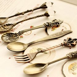 Nostalgic Vintage Royal Style Bronze Carved Eco-Friendly Small Coffee Spoon And Small Fork For Sweet Snacks ( The Price Is 12 Piece )