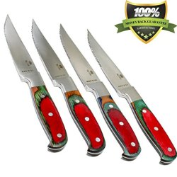 Royal 4 Piece Steak Knives Set - Serrated Edge Blades - Easily Slice Through All Types Of Steaks And Meats