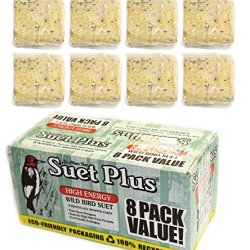 Wildlife Sciences Suet Plus High Energy Wild Bird Suet, 8 Pack Value Feeder