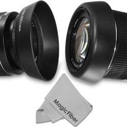 Ew-60C Dedicated Altura Photo Lens Hood For Canon Ef-S Usm 18-55Mm F/3.5-5.6 Is, Ii, Is, 28-80Mm F/3.5-5.6 Ii, Ii Usm, Iii, Iv, V, 28-90Mm F/4.0-5.6 Lenses (Canon Ew-60C Replacement) + Magicfiber Microfiber Lens Cleaning Cloth