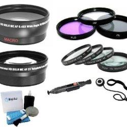 Professional Lens Kit Includes Wide Angle Lens + 2X Telephoto Lens + 3Pcs Filter Kit + Lens Pen + Lens Cap Keeper + Close Up Filter Set (+1, +2, +4 And +10 Diopters) + Digi 5 Piece Pro Cleaning Kit For Nikon D40 D50 D60 D70 D80 D40X Digital Slr Camera