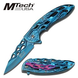 Flame Titanium Stainless Steel Blade Tactical Rescue Quick Open Pocket Design Folding Knife (Blue)
