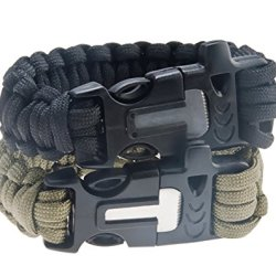 Attmu Outdoor Survival Paracord Bracelet With Fire Starter Scraper Whistle Kits, Set Of 2, 2 Colors