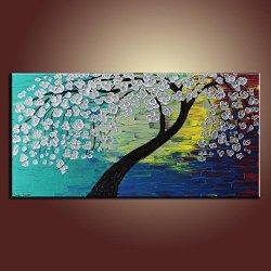 Palette Knife Fine Art Painting On Canvas,Modern Wall Art Sliver Tree And Sliver Flower 10X20 In/25X50Cm Unframed