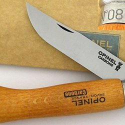 Opinel France No 8 Beech Wood Safety Locking Carbon Steel Blade Knife