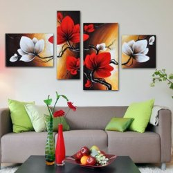 Sangu 100% Hand Painted Wood Framed 4-Piece Hot Sale Plum Blossom Oil Painting Gift Canvas Wall Art For Home Decoration