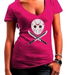 Scary Mask With Machete - Halloween Juniors V-Neck Dark T-Shirt - Hot Pink - Large