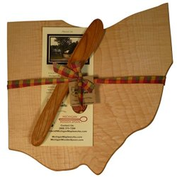 Michigan Maple Cutting Board With Cherry Wood Cheese Spreader Gift Set Ohio Shaped Board Large