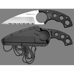 Cold Steel Point Guard Neck Knife, Black Faux G-10 Handle, Serrated 49Fpfs